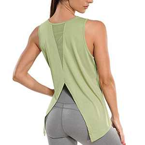 RACELO Workout Sleeveless Tops for Women Yoga Tank Tops Gym Shirts Athletic Exercise Clothes Green