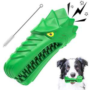 Dog Chew Toy,Dog Toys for Aggressive Chewers Large Breed,Indestructible Interactive Dog Toothbrush Toys and Tough Durable Squeaky Dog Chew Toys for Medium Dogs,100% Natural Rubber