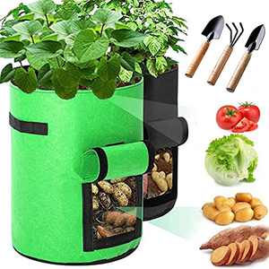 TopWang Grow Bags 2-Pcs 5 Gallon Plant Grow Bags & 3 Gadgets Green Garden,- ( Non-Woven Fabric, Containers with Window, Strap Handles) Planting Bags for Tomato, Potato and Vegetables