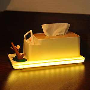 WanFly Wood Tissue Box Cover, Multifunction Tissue Box Holder, with Night Light Plastic Tissue Cover Holder, Tissue Box Cover with Desktop Storage for Bedroom,Nightstands,Kitchen,Office Use