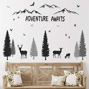HONEYJOY Woodland Nursery Decor, Tree Wall Decals, Inspirational Quote Mountain Forest Animal Deer DIY Wall Stickers for Kids Room Decor Boys Living Room Bedroom
