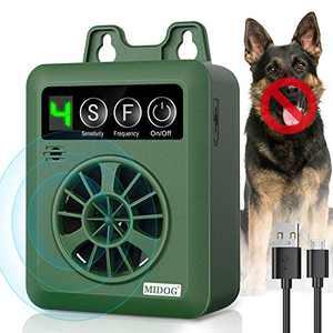MIDOG Anti Barking Device,Ultrasonic Dog Bark Deterrent with 4 Adjustable Ultrasonic Level Control,Upgrade Mini Sonic Anti-bark Repellent 50 FT Range,Safe for Dogs,Dog Silencer,Bark Control Device