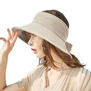 GuanGu Sun Visor for Women, Khaki Wide Brim Beach Hats for Women Foldable, Adjustable Golf Hat for Summer, Visor hat UV Sun Protection, Outdoors(Khaki