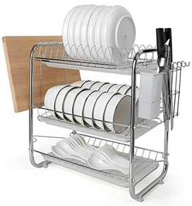 MaMahome Dish Drying Rack and Drainboard Set, 304 Strainless Steel 3 Tier Dish Drying Rack with Utensil Holder and Dish Drainer for Kitchen Counter (3-Tier, White)