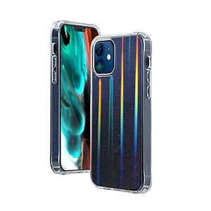 TILON Bling Glitter Rainbow Case with Holographic Effect Compatible with iPhone 12/12 Pro (2021) 6.1Inch, Stylish Ultra-Thin Protective Shockproof Bumper Cover Anti-Scratch-(Black)