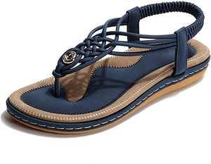 NUHEEL Ladies Sandals Summer Beach Flip Flops Women Bohemian Shoes Elastic T-Strap Flat Sandals Clip Toe Slingback Boho Sandals Slip On Post Thongs Casual Vacation Walking Shoes Anti Slip Wide Fit