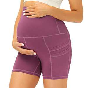 Yidarton Womens Maternity Shorts Over The Belly Yoga Athletic Workout Shorts with Pockets (Large, 1Pack Purple)
