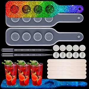 2 Pieces Shot Glass Serving Tray Molds, Resin Wine Glass Holder Molds, 4-Hole Beer Flight Board Resin Molds with 10 Wooden Stir Sticks, 5 Droppers and 10 Finger Cots for DIY Party Home Decoration