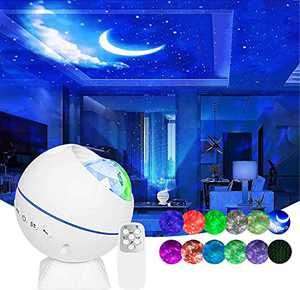 Star Projector,3 in 1 Galaxy Projector Ocean Wave LED Starry Night Light Built-in Sound Sensor Projector Lamp with Remote & Magnetic Bracket for Automobile Interior/Home Theatre/Christmas Gift