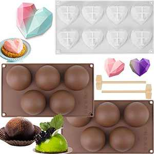 GABOX Chocolate Cake Making Molds Set - 2 Pack Large 5 Holes Semi Sphere Round Ball Half Circle Hot Chocolate Bomb Molds, 8-cavity 3D Diamond Heart Shaped Silicone Mold Baking Pan, 2Pcs Wooden Hammers