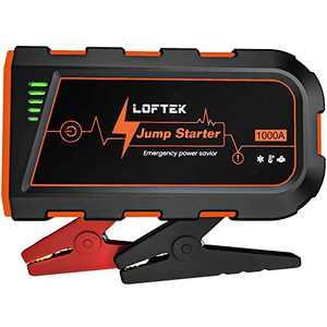 LOFTEK Car Battery Jump Starter (Up to 7.0L Gas or 5.5L Diesel Engine), 1000A Peak Portable Charger 12V Power Pack Auto Battery Booster Car Starter with Built-in LED Light, Orange