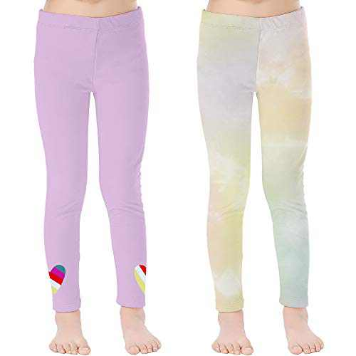 V.&GRIN 2-Pack Girls Leggings, Kids Dance Tights Ankle Length Soft Stretch Yoga Pants 4-6X Years(Lavender,Tie-Dyed 6)