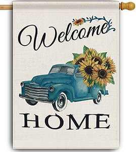 Welcome Sunflower Fall House Flag , Burlap Farmhouse Garden Flag 28 x 40 Double Sided , Seasonal Summer Fall Flag Outdoor Decor