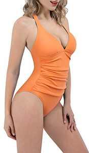 ESPIDOO Women's V Neck One Piece Swimsuit Athletic Training Swimwear Bathing Suits, S