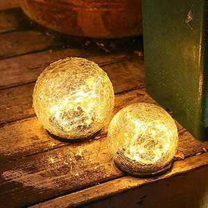 "OHINGLT Solar Garden Lights Outdoor Cracked Glass Ball Waterproof Wireless Warm White LED Lamp for Garden Decor Pool Yard Art Pathway Patio Walkway Lawn Ornaments 1 Globe (4.73"")"