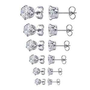 Stainless Steel 6 Pairs Stud Earrings Set for Women Men Girls Round Zirconia Earring Silver Tone