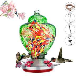 Hummingbird Feeder for Outside, Hanging Hummingbird Water Feeder, 35.3 Ounces, Easy to Fill and Clean, Large Capacity Hummingbird Feeder for Outdoor, Including Ant Moat, S Hook, Hemp Rope, Brush