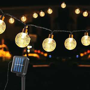 Techip Solar String Lights Outdoor Indoor 30LED 20FT Waterproof Solar Powered Lights Outdoor Decorative 8 Modes Crystal Globe Patio Lights Solar Panel Globe Fairy Lights for Garden Yard Party Wedding