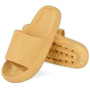 Pillow Slides Extra Thick But Soft Sole Bathroom House Slippers with Drain Holes at Bottom Quick Dry for Summer Indoor Shower Shoes Yellow Size 5.5-6.5 Women