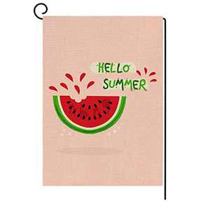 AKETCH Hello Summer Garden Flag Welcome Watermelon Pink Flag Vertical Double Sided Summer Farmhouse Burlap Yard Outdoor Decor 12.5 x 18 Inch