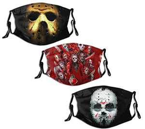 Made in USA men women kids interesting Jason Friday the 13th face mask washable reusable 3 pcs with 6 Filter Balaclava Adjustable loops
