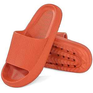 Pillow Slides Extra Thick But Soft Sole Bathroom House Slippers with Drain Holes at Bottom Quick Dry for Summer Indoor Shower Shoes Orange Size 11-12 Women