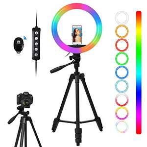 """Fotulato 10"""" Selfie Ring Light with Camera Tripod Stand and Phone Holder 48 RGB Lighting Modes Remote Shutter for TikTok Photography Live Stream YouTube"""