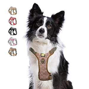 Front Clip Dog Harness, Atopark No Pull Reflective Dog Walking Harness, Dog Vest Harness with Sturdy Dual-Clips for Training, Adjustable No Choke Pet Harness(L) Brown