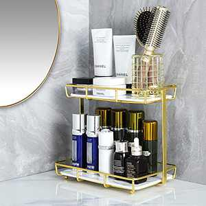 Dobbyby Bathroom Organizer Countertop Storage Shelf 2-Tire Vanity Tray for Makeup Perfume in Dresser Kitchen Stainless Steel Gold Shelf White Marble Print Ceramic Tray Gift for Mother'day