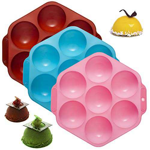 Tanlee 3 Pieces Semi Sphere Silicone Molds 7 Holes Half Round Ball Sphere Chocolate Baking Mold For Making Chocolate, Cake, Jelly, Dome Mousse