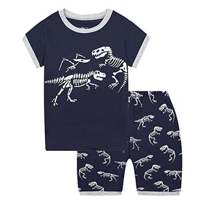 MIXIDON Boys Short Pyjamas Sets Kids Digger Pjs for Boy Short Sleeved Nightwear Sleepwear Summer 2 Pieces Outfits Age 1-10 Years