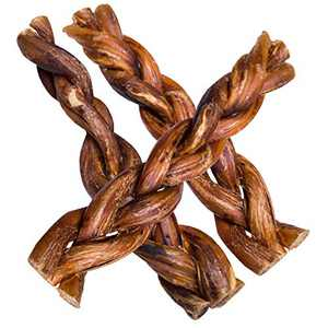 hotspot pets Braided Bully Sticks for Dogs - Premium All Natural Long Lasting Twisted Beef Pizzle Dog Chew Treats - Grain Free Fully Digestible Rawhide Alternative - 6 Inch Stix (5 Pack)