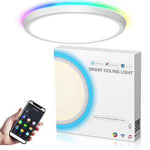 Smart Ceiling Light Fixture 35W, MikeWin Bedroom Flush Mount LED Ceiling Light Works with Alexa Up and Down Lighting Slim WiFi RGB Ceiling Light for Bedroom Living Room