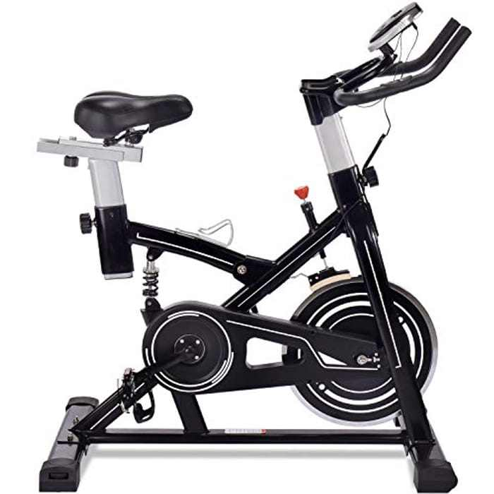 ERGO LIFE Exercise Bike Stationary Indoor Cycling Bicycle, Stationary Spin Bike with Tablet Holder/Pulse Sensor/LCD Monitor for Home Cardio Workout, 330Lbs Weight Capacity