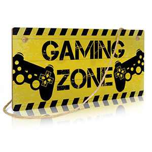 Putuo Decor Funny Game Room Decor, Wood Gamer Hanging Sign, Gift for Boy, 12 x 6 Inches (Game Zone)