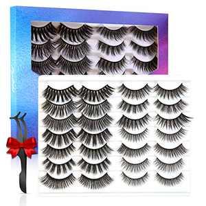EYESEEK Lashes False Eyelashes Natural & Dramatic,Faux Mink Fake Eyelashes,Fluffy & Wispy False Mink Lashes Pack,14 Pairs
