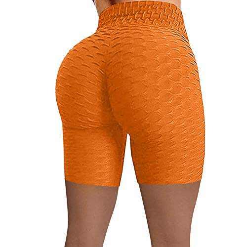 UNBRUVO Women Wrinkled High Waist Hip Stretch Tummy Control Workout Running Fitness Yoga Pants Biker Shorts (Orange, L)