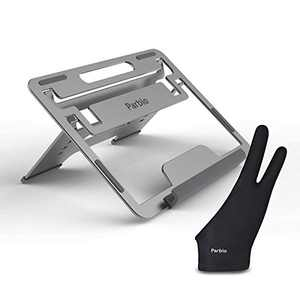 Parblo Adjustable Tablet Stand Holder with Drawing Glove, Portable Foldable Desktop Stand Holder Compatible with 10 to 16 inches Laptops, Graphics Monitor and Drawing Tablet (PR110)