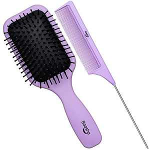 Baasha Hair Brush, Hairbrush for Thick Curly Thin Long Short Wet or Dry Hair Reduce Frizz Dry Adds Shine and Makes Hair Smooth, Best Paddle Hair Brush for Women Men Kids(Purple)