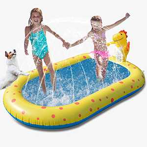 Yocuby Inflatable Sprinkler Pool, Outdoor Splash Play Mat Kiddie Bany Swimming Pool, Cute Dinosaur Water Pad Outdoor Wading Toys for Kid Toddler Boy Girl Age 1-4 Years Old