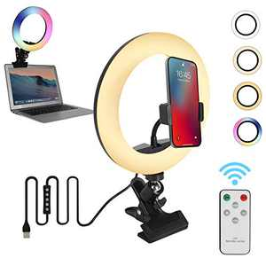 """Video Conference Lighting,8"""" RGB Ring Light with Monitor Clip On and Phone Holder for Makeup/Live Streaming/YouTube Video/Tiktok/Photograph/Zoom Calls Lighting/Computer Laptop Video Conferencing"""