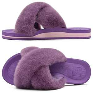 KUAILU Womens Fuzzy Slides Fluffy Faux Fur House Slippers Open Toe Yoga Mat Cross Sliders Hard Rubber Sole Sandals with Arch Support Purple Size 6
