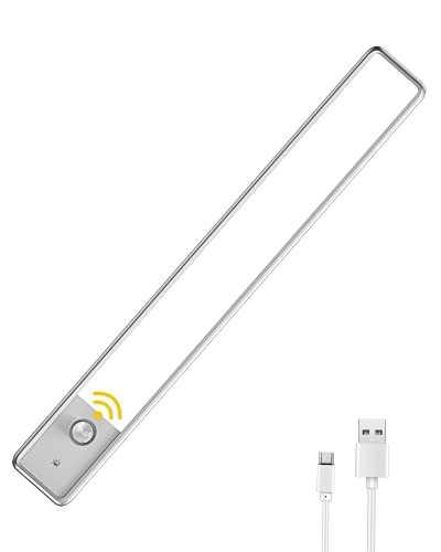 "LED Closet Light, EZVALO 52LED Motion Sensor Under Cabinet Lighting Wireless Rechargeable 11.8"" Smart Under Cabinet Light Dimmable Night Light for Stairs, Wardrobe, Kitchen, Hallway"