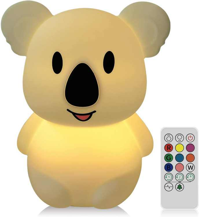 NYFEA Koala Kids Night Light LED USB Rechargeable Silicone Children Lighting, 2 Different Modes and 8 Variable Colors, Remote Controlled and Touch [Energy Class A+]