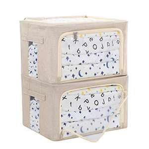 XULAN Large Storage Bins Box, Stackable Foldable Clothes Organizer with Clear Windows and Carry Handles, Great for Clothes, Blankets, Closets, Bedrooms and More Set of 2 Large 36L (Beige)