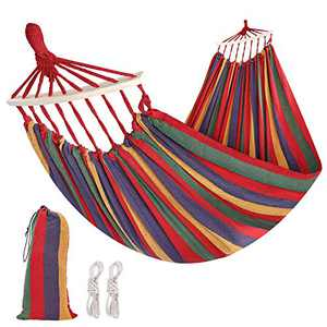 WBHome Brazilian Hammock with Hanging Kits, Tree Hammock for Indoor Outdoor Patio Porch Garden Camping, Cotton Canvas Carrying Bag, Ropes and Carabiners Included (Rainbow Stripe)