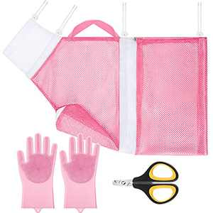 4 Pieces Cat Grooming Bath Bag Set Cat Grooming Shower Pet Net Bag with Grooming Gloves Pet Nail Clippers for Cats Dogs Bathing Nail Trimming Cleaning Tools