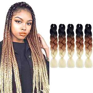 Ombre Jumbo Braiding Hair Synthetic Braiding Hair 5 Packs 24 Inch Jumbo Braiding Hair High Temperature Synthetic Crochet Twist Hair Extensions(1B/Brown/613)…