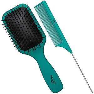 Baasha Hair Brush, Hairbrush for Thick Curly Thin Long Short Wet or Dry Hair Reduce Frizz Dry Adds Shine and Makes Hair Smooth, Best Paddle Hair Brush for Women Men Kids (Green)