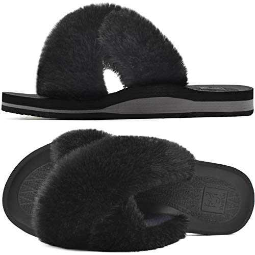 KUAILU Womens Fuzzy Slides Fluffy Faux Fur House Slippers Open Toe Yoga Mat Cross Sliders Hard Rubber Sole Sandals with Arch Support Black Size 11